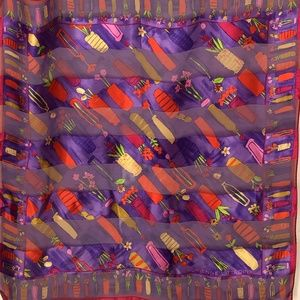 Adrienne Vittadini Silk Scarf Purple Vases Flowers